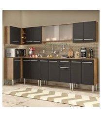 cozinha completa de canto madesa emilly jazz com armário vidro miniboreal e balcão rustic/preto rustic/preto