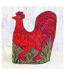 chain stitched wool tea cozy, 'morning rooster' (india)