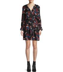 nour floral tiered ruffle silk a-line dress