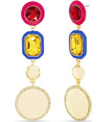 kensie rhinestone and enamel drop post earring