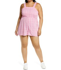 bp. smocked bodice romper, size 3x in pink geodot plaid at nordstrom