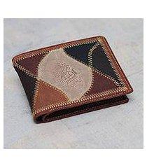 men's leather wallet, 'beige tumi' (peru)