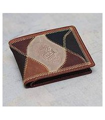men's leather wallet, 'beige tumi' (peru)