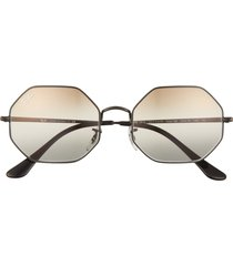 ray-ban 1972 54mm gradient octagon sunglasses in black/clear gradient brown at nordstrom