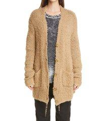 women's r13 teddy wool blend cardigan, size small - beige