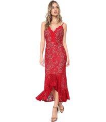 vestido ana hickmann midi renda vermelho