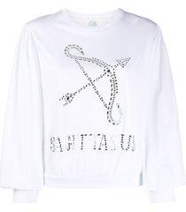 alberta ferretti sagittarius crystal-embellished sweatshirt - white