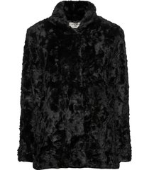minimal. outerwear faux fur zwart tiger of sweden jeans