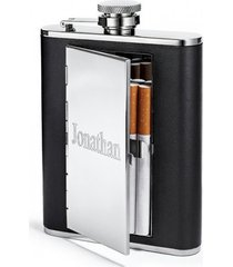 top shelf 6 oz cigarette case hip flask, personalized