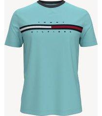 tommy hilfiger men's essential washed flag stripe t-shirt true cornflower - xxxl