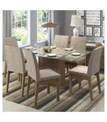 conjunto sala de jantar madesa melissa mesa tampo de vidro com 6 cadeiras rustic/fendi