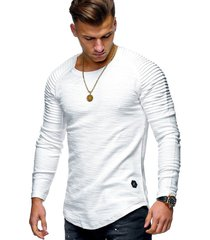 moda cuello redondo delgado de manga larga camiseta hombres-blanco