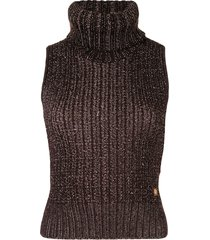 chanel pre-owned 2001 chunky-knit roll-neck vest - brown