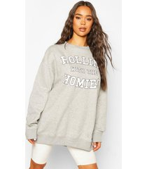rolling with the homies slogan oversized sweatshirt, grey