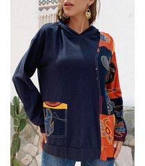camicetta con cappuccio taglia plus irregolare stampata vintage