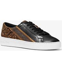 mk sneaker slade a righe con logo e glitter - nero/bronzo (nero) - michael kors