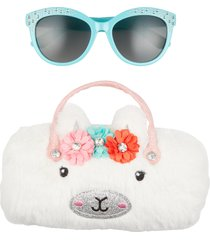 capelli new york kids' sunglasses & glitter llama case in white combo at nordstrom