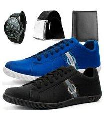 kit 2 pares de sapatênis casual dhl polo masculino preto e azul + relógio + cinto + carteira