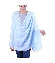 angora wool shawl, 'sky meditation' (india)