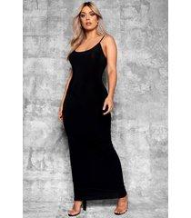 plus strakke maxi jurk met bandjes, zwart