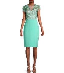reem acra women's silk lace sheath dress - seafoam - size 8