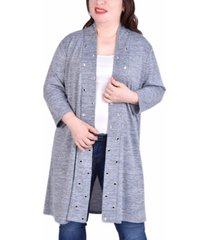 ny collection women's plus size 3/4 sleeve cardigan with grommets
