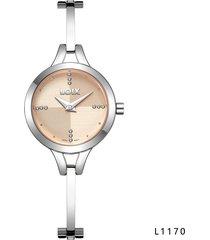 reloj para dama marca loix ref l 1170-02 plateado tablero rosa