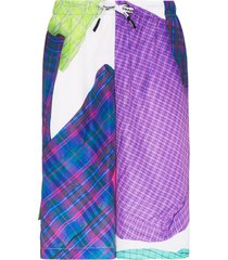 duoltd check print track shorts - purple