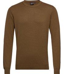 custer roundneck stickad tröja m. rund krage brun oscar jacobson