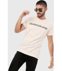 camiseta beige-negro calvin klein