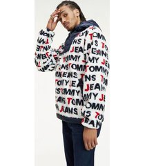 tommy hilfiger men's all over logo sherpa popover jacket classic white / navy - m