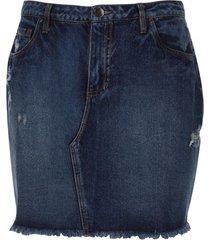 falda jean ruedo desflecado color azul, talla 6