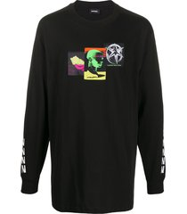 diesel head graphic print long sleeve top - black