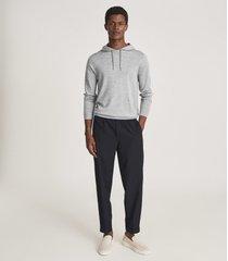 reiss holland - merino wool hoodie in soft grey mouline, mens, size xxl