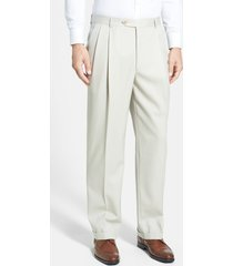 men's berle pleated classic fit wool gabardine dress pants, size 33 x 32 - beige