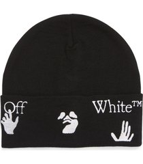 men's off-white embroidered logo cuff wool beanie -