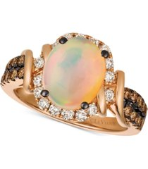 le vian chocolate & nude neopolitan opal (7/8 ct. t.w.) & diamond (5/8 ct. t.w.) ring in 14k rose gold
