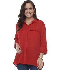 blusa camisera bolsillos manga larga rojo  corona