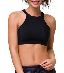 women's onzie high neck crop bra top, size small/medium - black