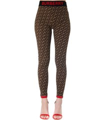 burberry brown nylon leggings with monogram print
