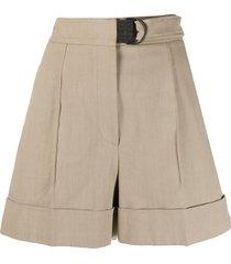 brunello cucinelli belted high-rise drill shorts - neutrals