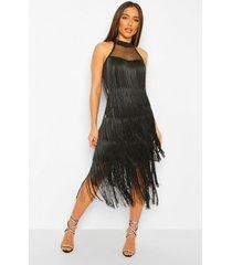 midi jurk met rafels, black