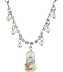 """2028 silver tone faux pearl pink flower beaded drop necklace 16"""" adjustable"""