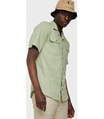 only & sons onsandrew ss reg waffle solid shirt skjortor grön