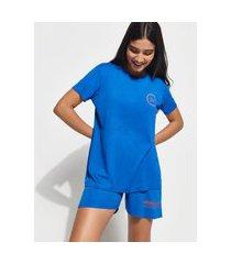 """t-shirt change your mindset"""" manga curta decote careca mindset azul royal"""""""