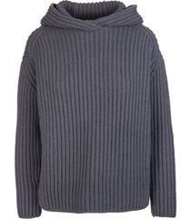 fedeli woman hooded sweater in dark grey ribbed cashmere