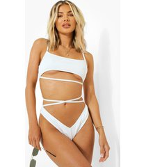geribbeld bikini broekje met v-taille en strikjes, white