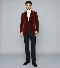 reiss cayenne - modern fit velvet blazer in rust, mens, size 48