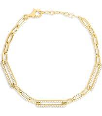 chloe & madison women's gold vermeil & cubic zirconia paperclip chain bracelet