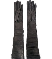 manokhi long slit gloves - brown